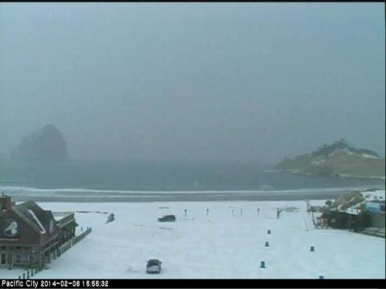 Snow on the beach in Oregon